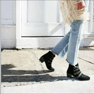 Free People Black Suede Ranger Buckle Booties